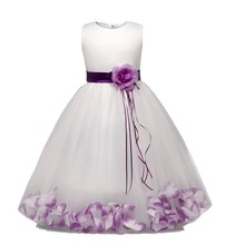 Flower Girl Dress with Flowers Ribbons for Girls Tulle Dresses Birthday Party Wedding Ceremonious Kid Girl