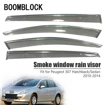 High Quality 4pcs Smoke Window Rain Visor For Peugeot 307 Hatchback/Sedan 2014 2013 2012 2011 2010 Deflectors Guard Accessories