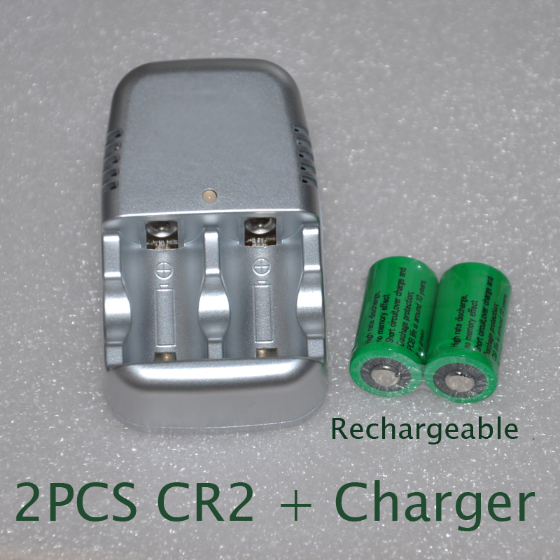 2pcs 3v CR2 rechargeable lithium ion battery cell 800MAH + 1pcs charger replace 3.2v LiFePo4 CR15270 for polaroid camera