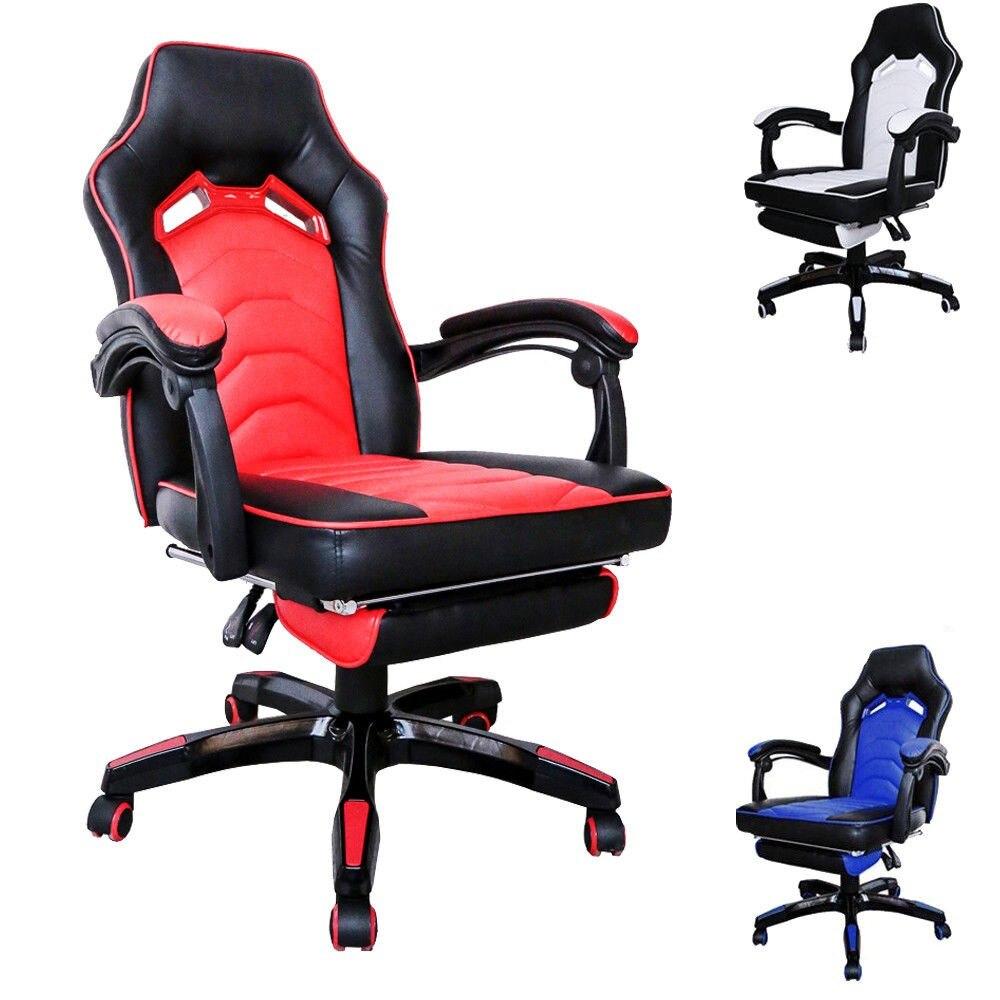 100-108 cm Hauteur Racing chaise pivotante Jeu Chaise D'ordinateur Chaises de Bureau Réglable en Hauteur et dossier Travail Meubles Bleu blanc