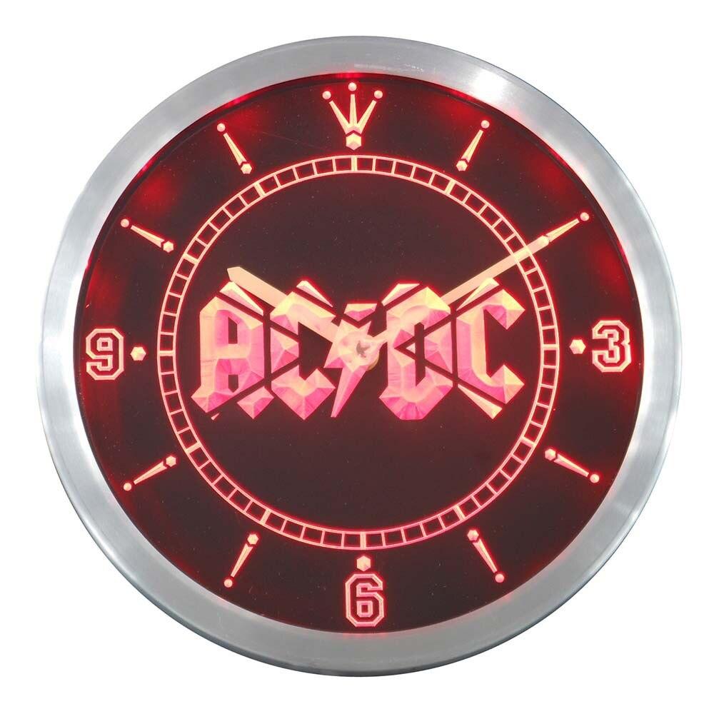 Nc0148 ACDC AC/DC bande musique Bar Club néon signes horloge mur LED