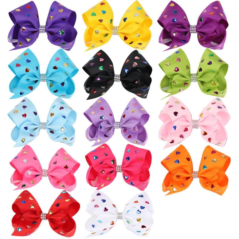 14pcs/lot 5inch JOJO SIWA BOW Ribbon Hair Bow with Clips Hair Bows with Rhinestone Center Kids Girls Hair Accessories Headwear Рыбная ловля