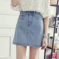 Fashion Elegant Lady A Line Denim Skirts Women Female High Waist Korean Style Pure Blue Jean