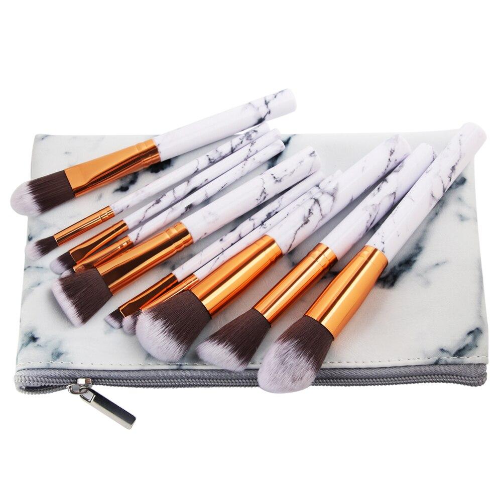 10Pcs/Set Marbling Makeup Brushes Kit Marble Pattern PU Brush Bag Powder Contour Eye Shadow Beauty Make Up Brush Cosmetic Tools 12 pcs cosmetic pu brush bag horsehair makeup brushes set