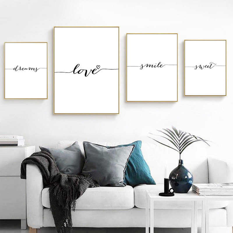 Love Smile Dream Sweet Quotes Canvas Poster and Prints Painting Wall Art Nordic Style Decorative Picture Home Bedroom Decor