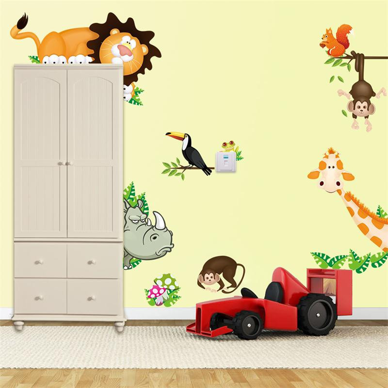 HTB1HpdlJpXXXXcxXFXXq6xXFXXXp - Cute Animal Live in Your Home DIY Wall Stickers/ Home Decor Jungle Forest Theme Wallpaper/Gifts for Kids Room Decor Sticker