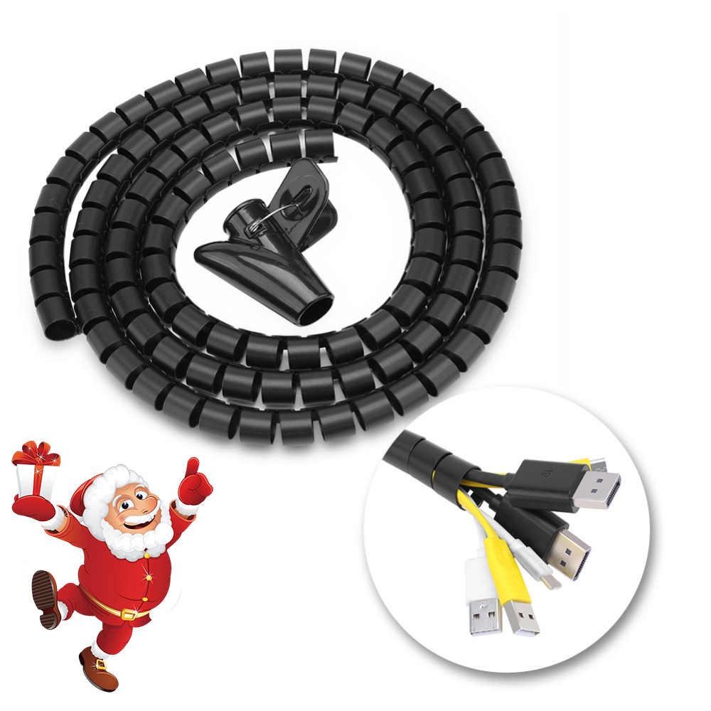3 tailles Flexible spirale Tube câble organisateur fil enroulement cordon protecteur fil stockage tuyau câble enrouleur
