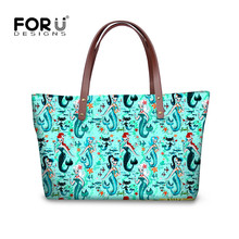 FORUDESIGNS Mysterious Mermaid Women Handbags Luxury Brands Tote Bag Ladies Shoulder Bags