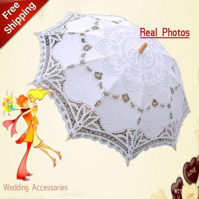 New Lace Umbrella Cotton Embroidery White/Ivory Battenburg Lace Parasol Umbrella Wedding Umbrella Decorations Free Shipping 3