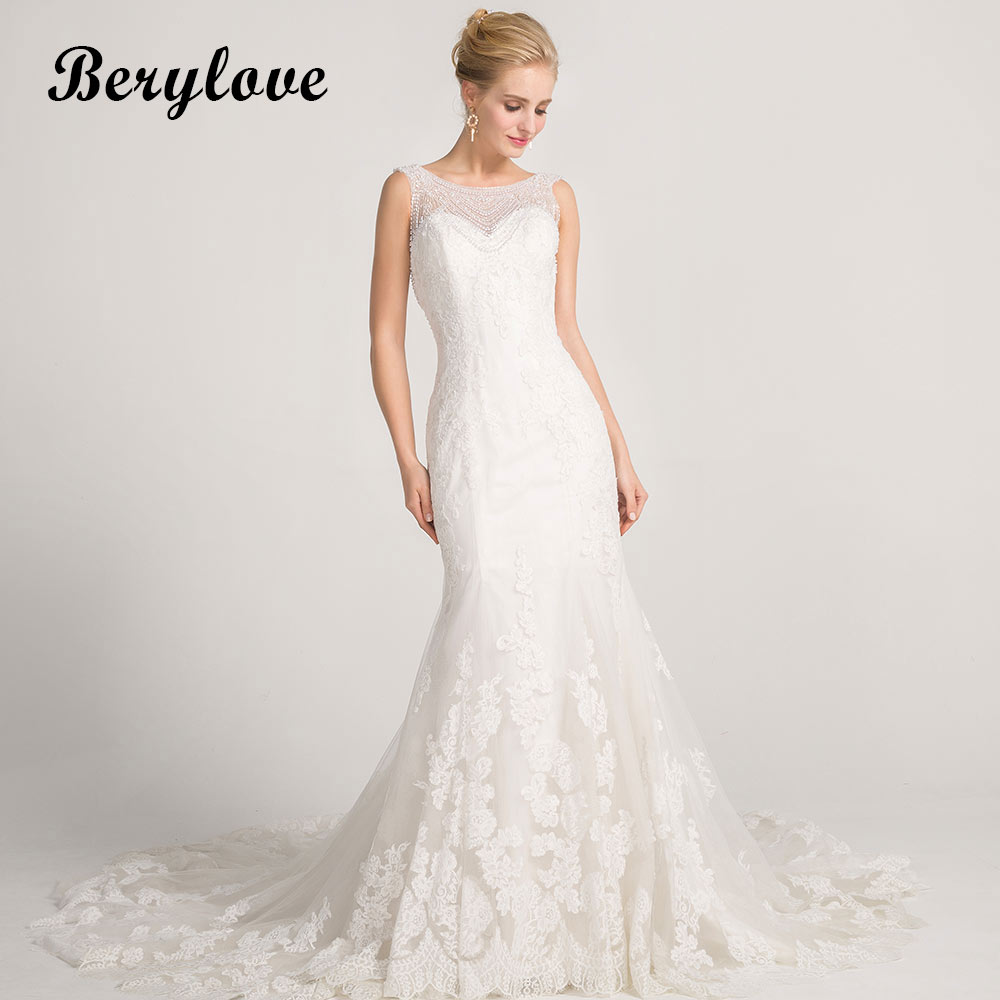 BeryLove Gorgeous White Mermaid Wedding Dresses 2018 Long Beading Lace Wedding Gowns Dress China Women Styles Bridal Dresses