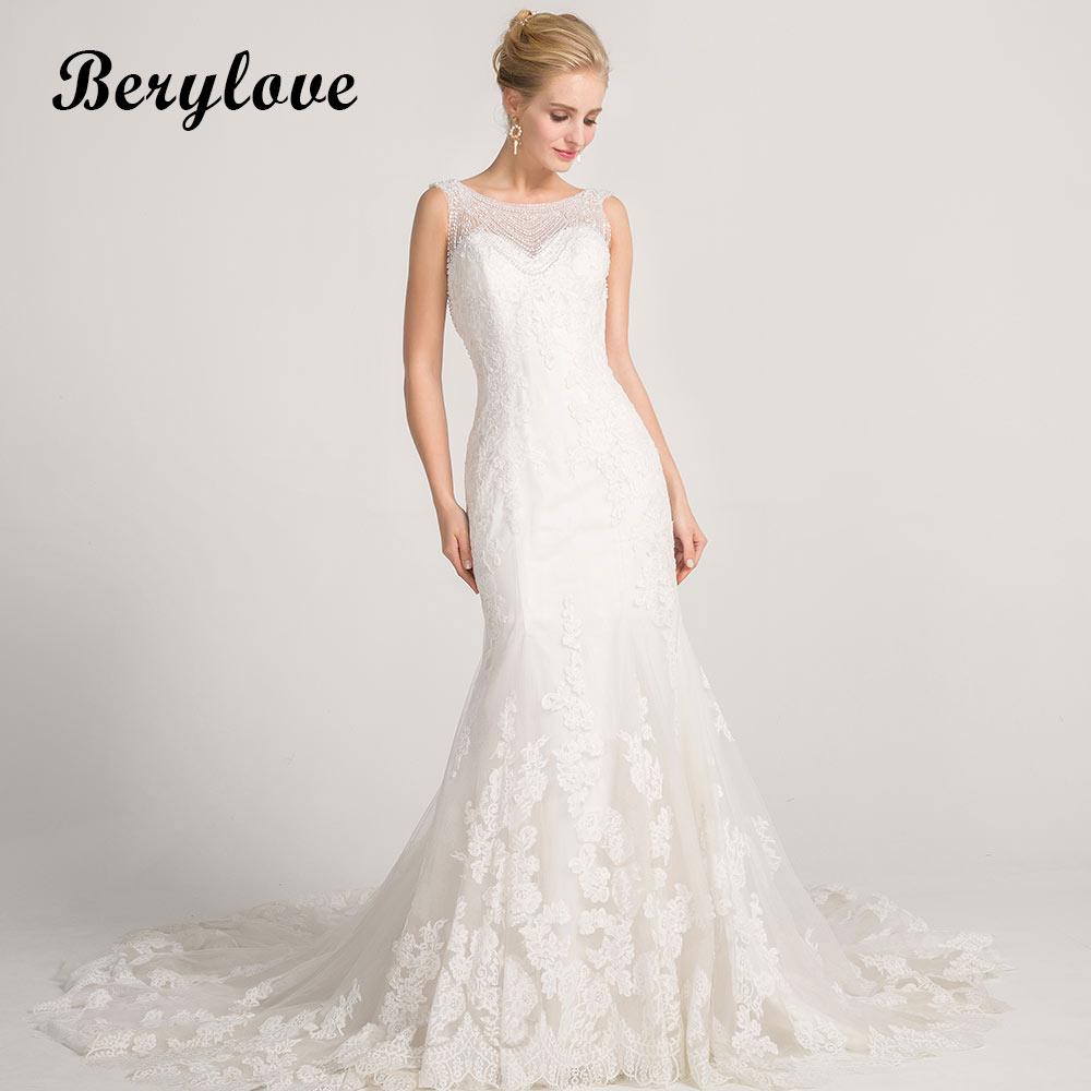 BeryLove Gorgeous White Mermaid Wedding Dresses 2018 Long Beading Lace Wedding Gowns Dress China Women Styles Bridal Dresses