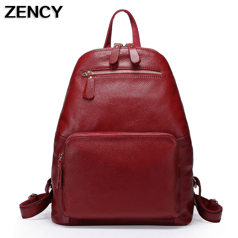 ZENCY First Layer Cow Leather Women Backpack Famous Brands Genuine Leather Backpacks School Bag Black/Dark Blue/Dark Red zency genuine leather backpacks female girls women backpack top layer cowhide school bag gray black pink purple black color
