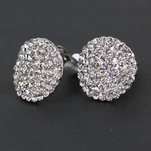 Fashion Korean Round Paved Crystal Clip Earrings Lead Free Female Jewelry Bridal Wedding Accessories gold Mothers Day Gift