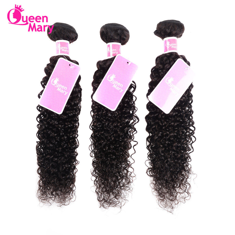 Raw Indian Hair Brazilian Kinky Curly Hair Weave Bundles 3 Bundle Deals Human Hair Weaving Queen Mary Non-Remy Hair Bundles