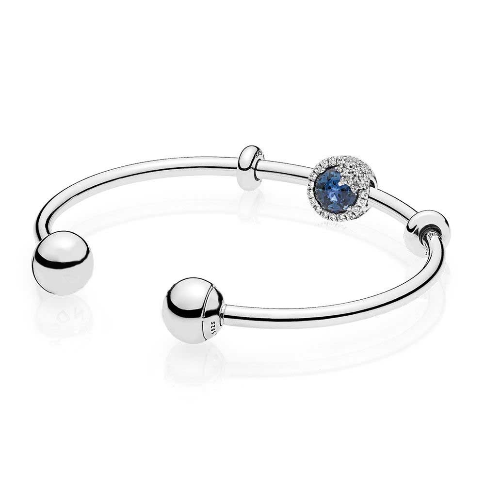 NEW 925 Sterling silver Blue Dazzling Snowflake Open Bangle Set Clear CZ fit DIY Original charm Bracelets jewelry A SetNEW 925 Sterling silver Blue Dazzling Snowflake Open Bangle Set Clear CZ fit DIY Original charm Bracelets jewelry A Set