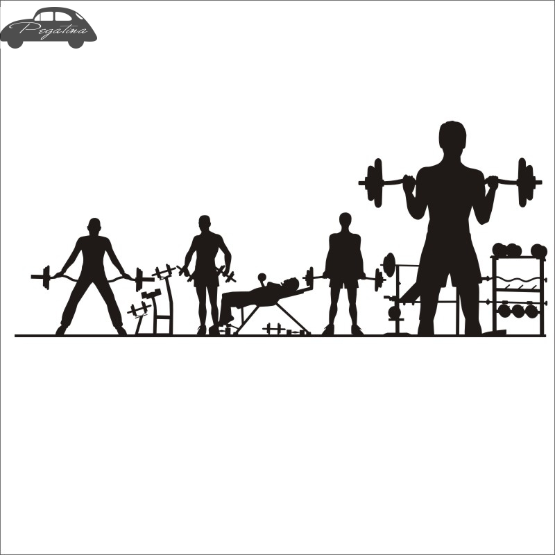 Pegatina Car Gym Sticker Fitness Crossfit Barbell Decal Body-building Posters Vinyl Wall Decals Parede Decor Mural Gym Sticker