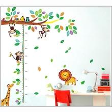 цена на Cartoon Giraffe Monkey Trees height Wall Sticker Baby Room Children Bedroom Wall Stickers Home Decor Wall Art Sticker