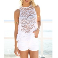 Summer Women Lace Tops 2017 Sexy T Shirts Women Blusa Hollow Out Lace Tee Shirts Beach