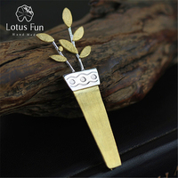 Extraordinary Exclusive Handmade Brooches Unique Potted Flower Pin Up Brooch Real 925 Sterling Silver Women Accessories