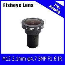 5Megapixel 186 degree Fisheye Lens 2.1mm For 720P/1080P AHD/CVI/TVI/IP CCTV Camera Free Shipping
