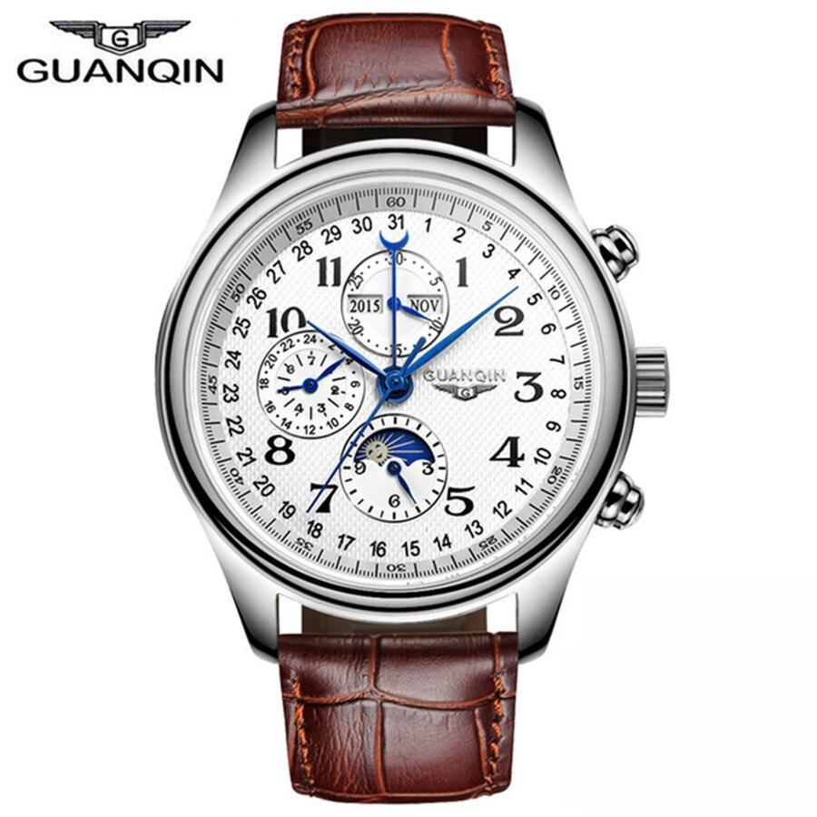 GUANQIN Mechanical Watches Men Luxury Fashion Casual Sport Perpetual Calendar Automatic Watch Waterproof Moon Phase Wristwatch