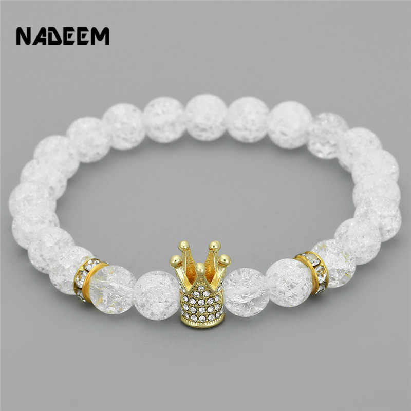 New Fashion Imperial Micro Pave Cubic Zircon Crown Charm Bracelet Men Women's White Crack Flowers Stone Beads Bracelet Jewelry