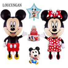114CM Big Mickey Mouse Minnie Balloon Baby Shower Mini Head Mickey Balloon Stick Birthday Party Decorations Kids Children Gift