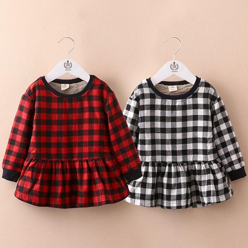 2016 Autumn/Winter baby girl Long Sleeve Plaid Dresses 100%Cotton England Style Kids Dress Children's Clothing - Hanna Apparel store