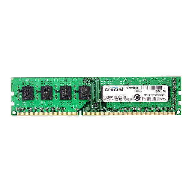 Crucial DDR3 PC3 12800S 4GB DDR3 1600MHz 2X4GB(8GB) 240 pin  DIMM Desktop Memory Module