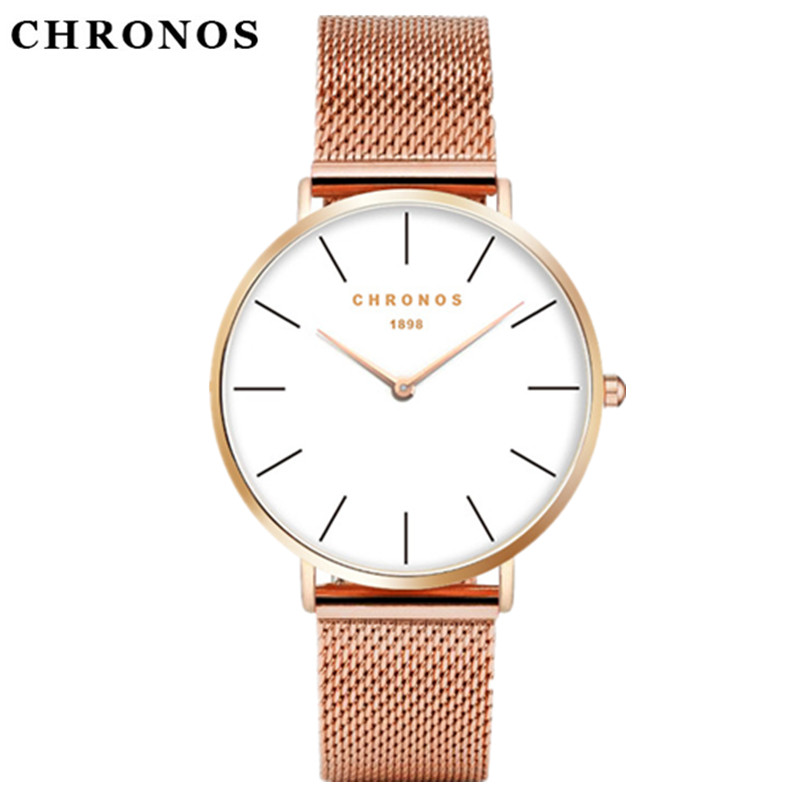 CHRONOS Watch Men Women Rose Gold Silver Casual Quartz-Watch Leather Watch Hodinky Relogio Masculino Relojes Mujer Montre Femme