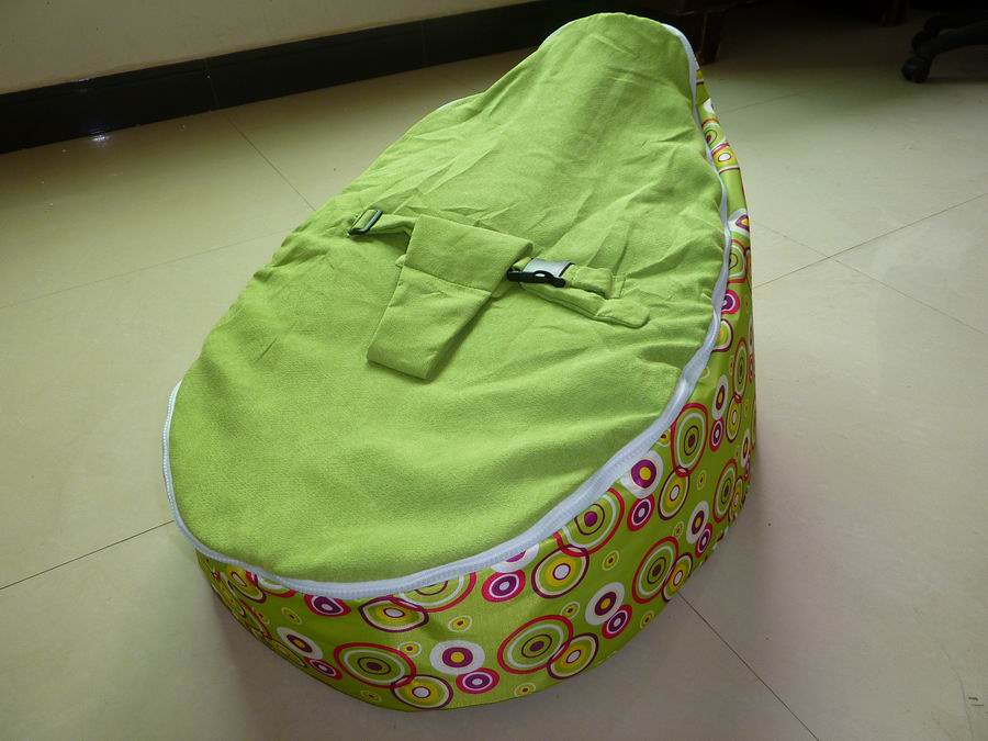 Free Shipping Disco Convertible  Baby Beanbag Chair, Two Tops Baby Beanbags Cover Only Green