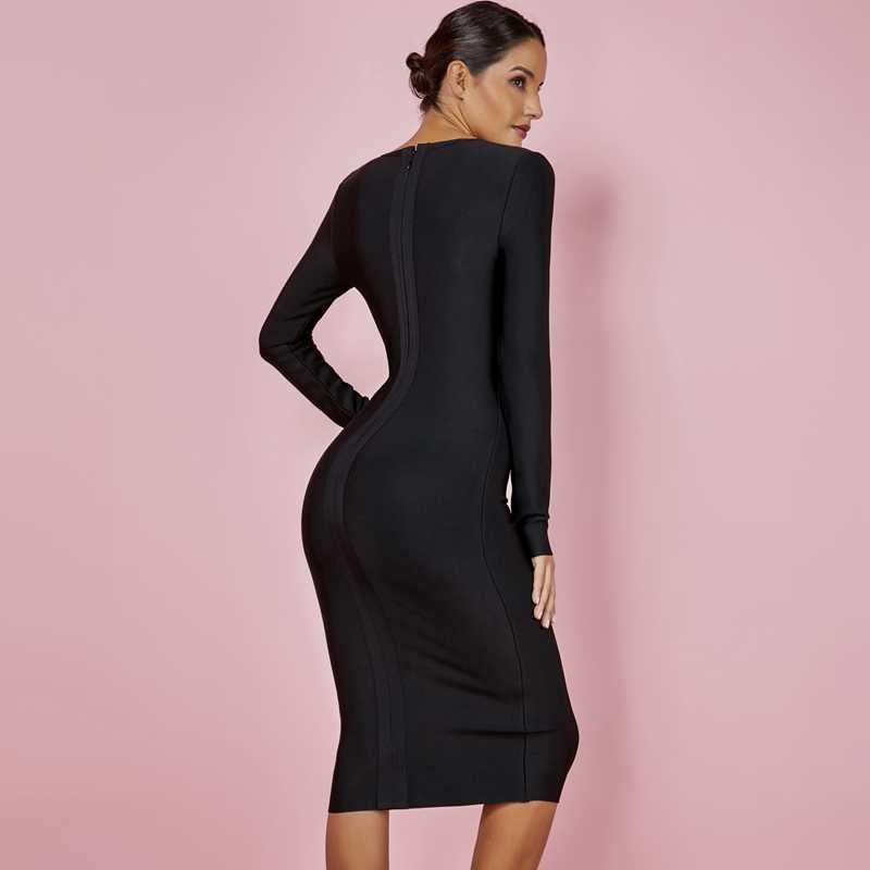 Ocstrade 2019 осеннее новое модное платье для вечеринки Новогоднее женское Новое поступление сексуальное облегающее черное Бандажное платье с длинным рукавом из вискозы