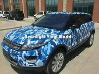 Baby Blue Camouflage Vinyl Wrap Film Blue Camo Vinyl Car Film Bubble Free Vehicle Wrap Size:1.50*30m/Roll
