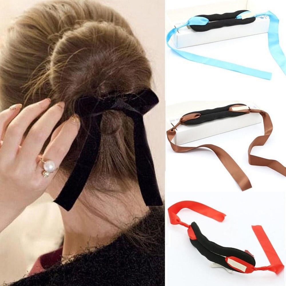 1 PCS Women Magic Tools Foam Sponge Device Quick Messy Donut Bun Hairstyle Girl Hair Bows Band Accessories Silk Headband