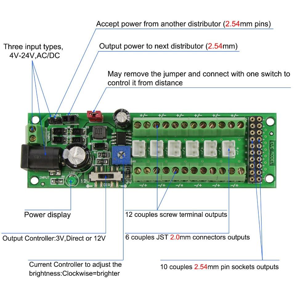 Image 2 - 1X Power Distribution Board Self adapt Distributor HO N O LED Street Light Hub DC AC Voltage PCB012 Train Power ControlModel Building Kits   -