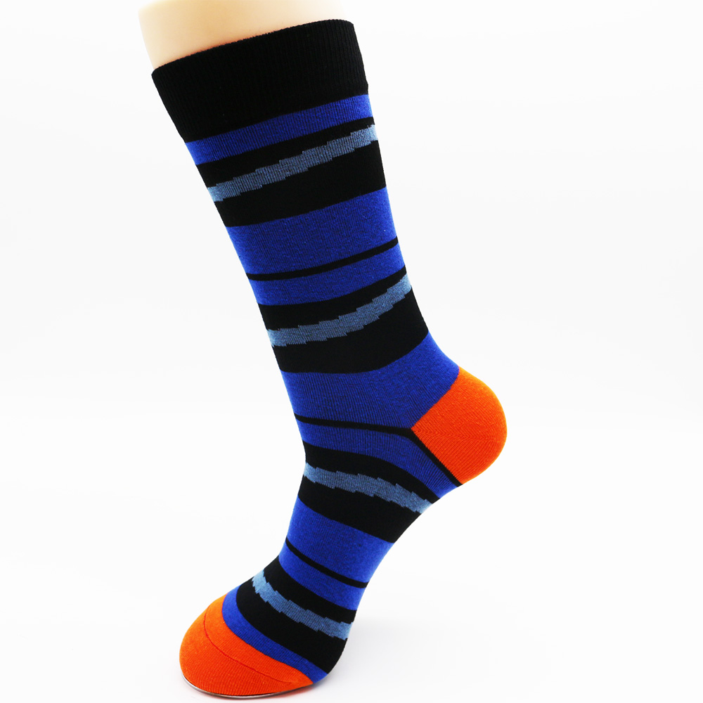 New winter mens funky cotton stripe colorful socks high quality mens dress socks fashion skateboard socks (4 pairs)