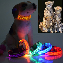 Luminous pet LED luminous spots Fluorescent leopard dog collar Articles Free shipping 10pcs/Lot