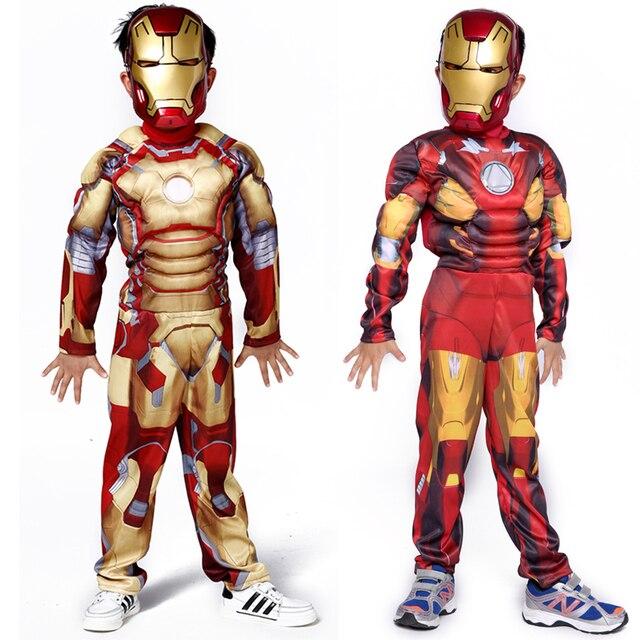 caratteristiche eccezionali prezzo base selezione migliore US $9.79 10% di SCONTO Costumi di natale per bambini per bambini ragazzi  coton muscolare iron man costume di halloween per bambini costumi di ...