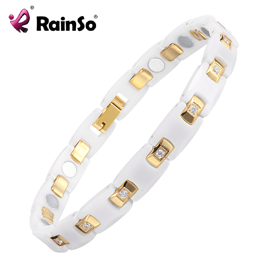 RainSo Gold Platef Women Jewelry Magnetic Ceramic Bracelet With Health Elements Magnetic Best Gift For  ORB-116WG