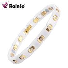RainSo Gold platef women Jewelry Magnetic Ceramic Bracelet With Health Elements Magnetic best Gift for  ORB 116WG