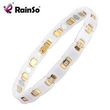 RainSo זהב platef נשים תכשיטי מגנטי קרמיקה צמיד עם בריאות אלמנטים מגנטי מתנה הטובה ביותר עבור ORB 116WG