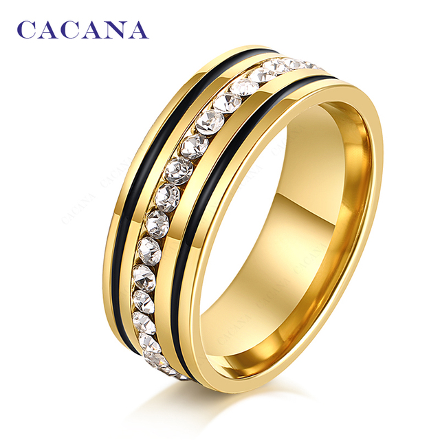 CACANA Titanium Stainless Steel Rings For Women With Circle CZ Symmetrical Hiera