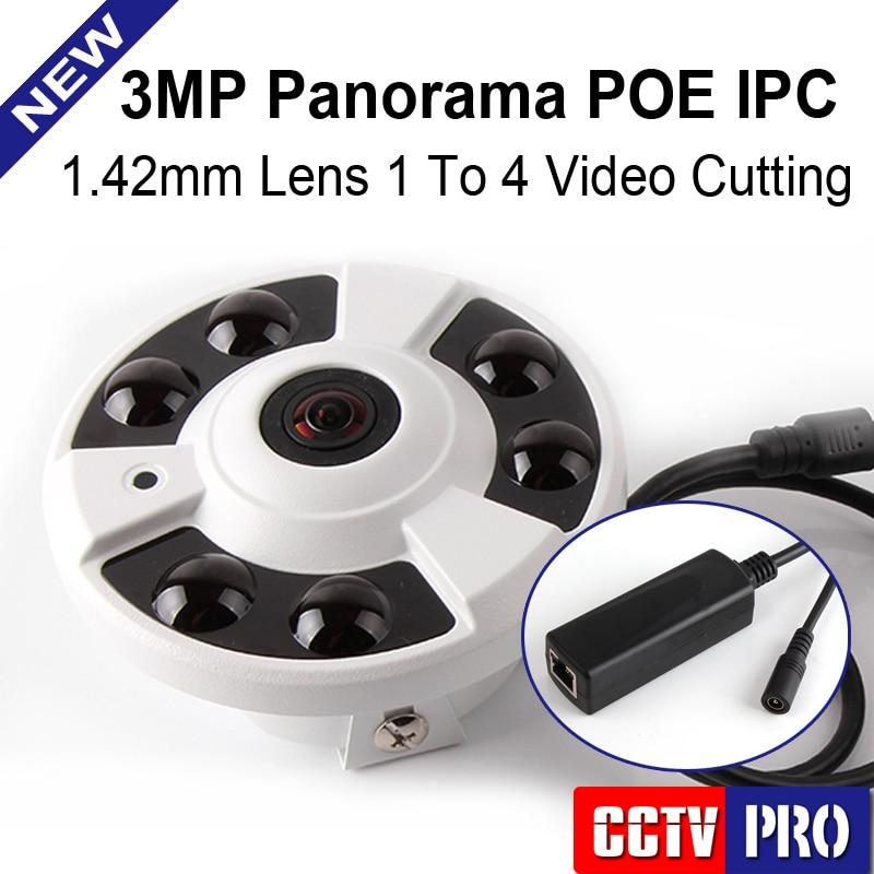bilder für Fisheye 5MP Objektiv Cctv 3MP 360 Grad Panorama Ip-kamera POE 3MP 1 Bis 4 Video Schneiden IR 20 Mt Onvif, Metallgehäuse