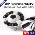 Lente Fisheye 5MP 3MP Panorámica de 360 Grados de Seguridad CCTV Cámara IP POE 3MP 1 A 4 Video De Corte IR 20 M Onvif, Carcasa de Metal