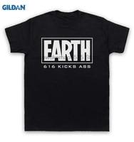 Gildan 100%綿oネックプリントtシャツマーベルコミックtシャツ地球616キック尻