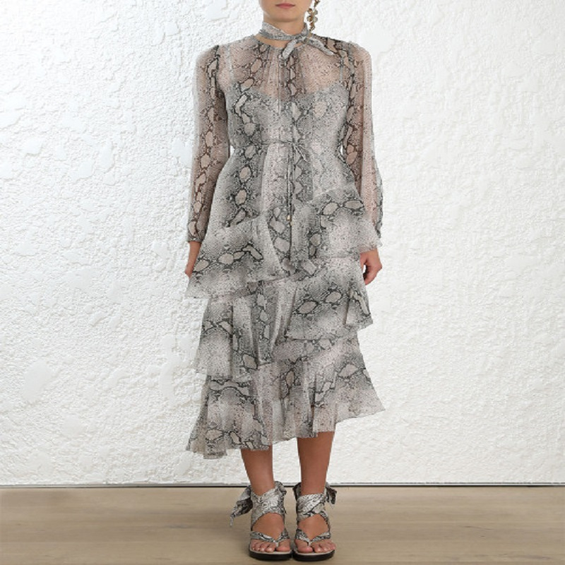 2019 new arrive spring women ruffles long dresses vintage serpentine print dress holiday vacation clothing