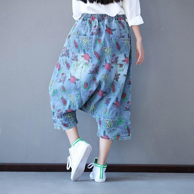 Druck Jeans Frau Plus Größe 2018 Mode Pluderhosen Frauen Jeans Elastische Taille England Stil Wadenlänge Lose Denim-hosen