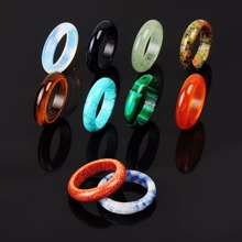 Druzy New Wholesale Jewelry Lots 6pcs Hand Carved Mixed Random Color Smooth Natural Stone Mystic Quartz Finger Rings for Party