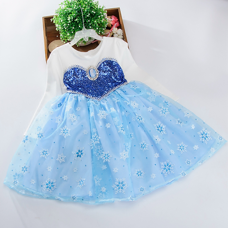 Disney children's dress snow romance spring sequins Aisha princess dress girl 3-6 years old dress children's clothing disney princess brass key 2003 holiday collection porcelain doll snow white