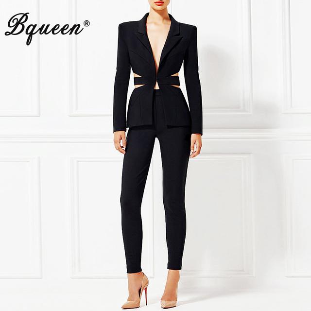 Bqueen 2017 Nova V Profundo Sexy Conjunto de Negócios Pant Ternos Blazers Mulheres formais OL Elegante Magro Cut Out Backless Preto Pista Terno